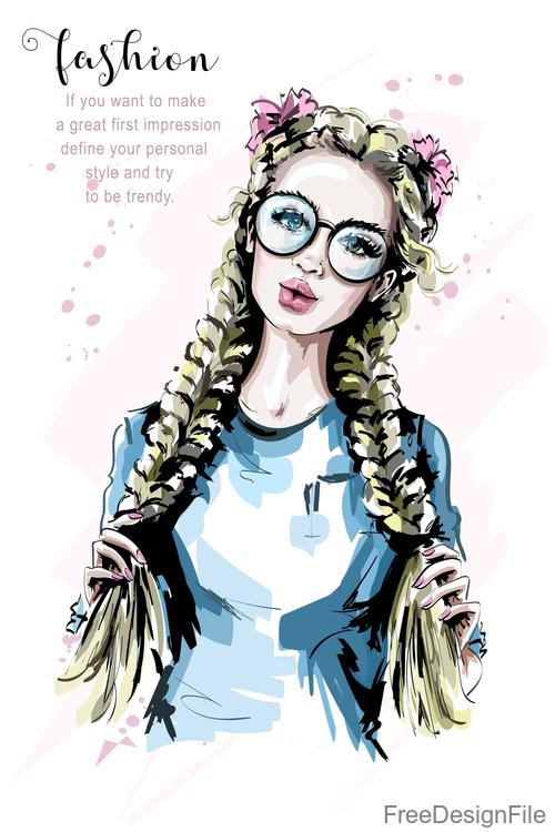 blonde hair girl sketch vector