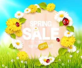 blurred spring sale circle paper vector