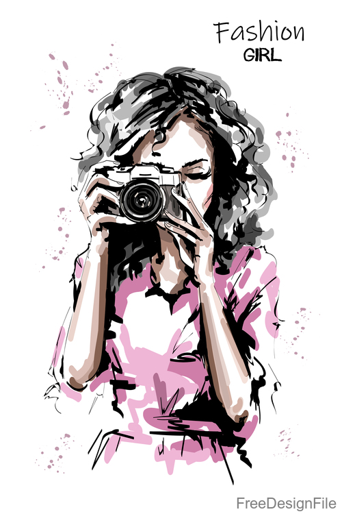 camera with fashion girl sketch vector