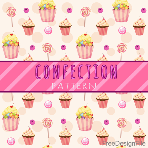 candies and cupcake pattern vector