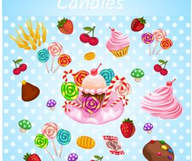 candies with sweet set vector 01