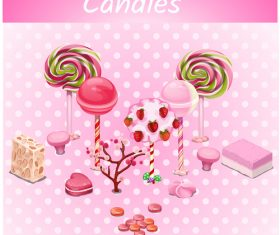 candies with sweet set vector 02