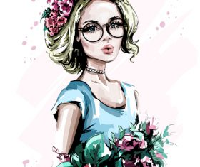 flowers with fashion girl sketch vector