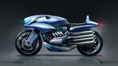 futurisic motorcycle vehicle Stock Photo