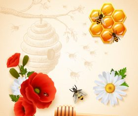 honey and flower with bee vector design
