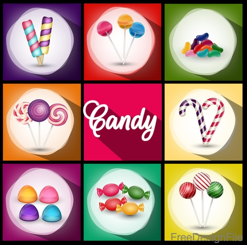 ice cream with candies and lollipop vector background