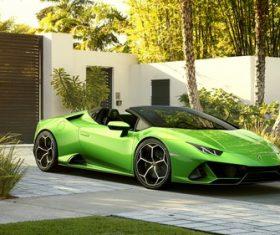 lamborghini huracan evo spider green car Stock Photo