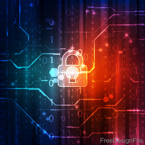 lock with electric technology background vector 01