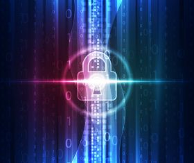 lock with electric technology background vector 02
