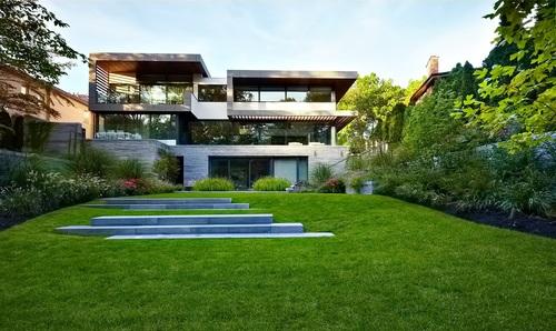 modern house architecture playground Stock Photo
