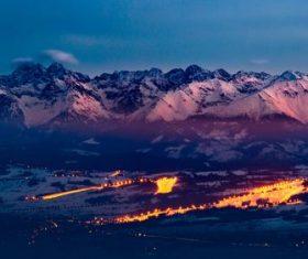 mountain ski resort dusk city lights