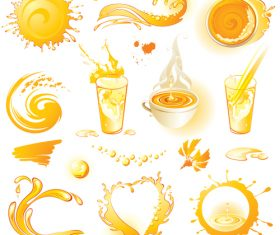 orange drink splashes illustration vector set