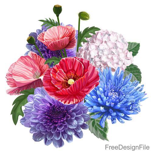 poppy bouquet illustration vector