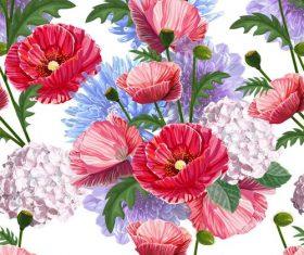 poppy chrysant seamless pattern vectors 01