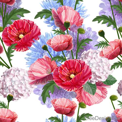 poppy chrysant seamless pattern vectors 01
