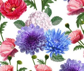 poppy chrysant seamless pattern vectors 02