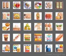 street food flat icons