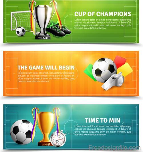 3 Kind football banners design vector