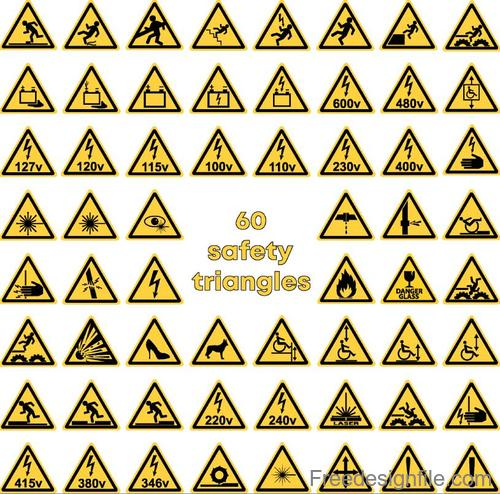 60 safety triangles sign vector