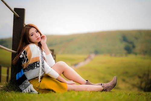 Asian girl tourist posing Stock Photo