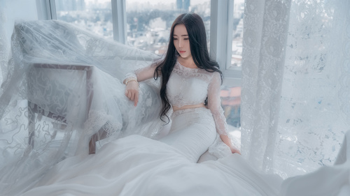 Asian woman indoor white wedding art photo Stock Photo