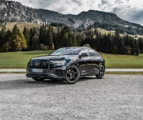 Audi Q8 2019 black car Stock Photo
