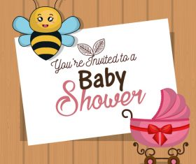 Baby shower card with wooden wall vector design 02