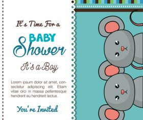 Baby shower vertical card template vector 01