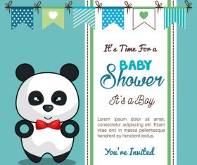 Baby shower vertical card template vector 02