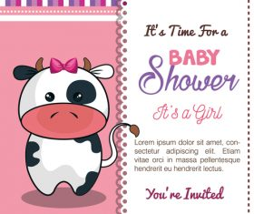 Baby shower vertical card template vector 03