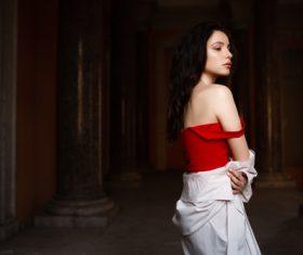 Bare shoulders women indoors silhouette Stock Photo