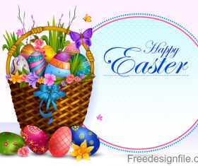 Basket with easter egg and easter card vector