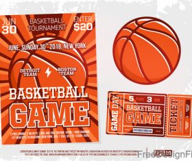 Basketball game ticket and flyer template vector 01