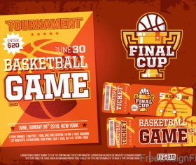 Basketball game ticket and flyer template vector 02