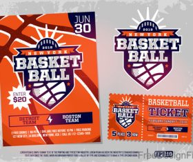Basketball game ticket and flyer template vector 03