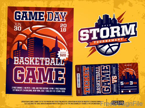 Basketball game ticket and flyer template vector 04