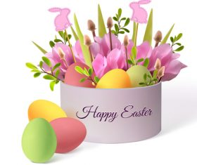 Beautiful flower with easter gift boxs vector