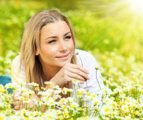 Beautiful women in nature Stock Photo 01