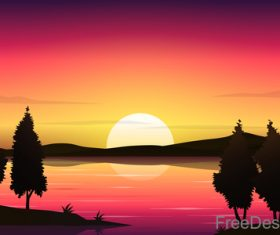 Beautyful Lake At Sunset Lanscape vector