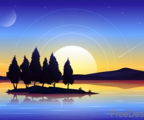 Beautyful lanscape with sunset vector