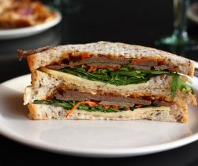 Beef sandwich breakfast Stock Photo