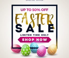 Beige easter sale poster design vector
