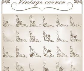 Big set corners ornaments design vector 05