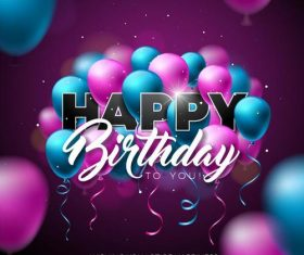 Birthday card design with purple blue balloons vector