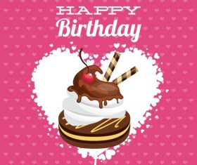 Birthday card with chocolate design vector