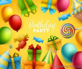 Birthday party background yellow style vector