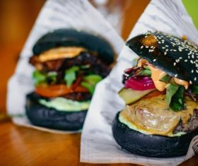 Black cheese burger Stock Photo