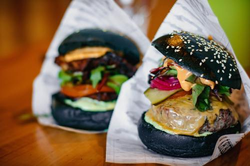 Black cheese burger Stock Photo