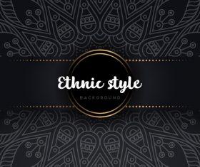 Black decor ethnic pattern background vector 01