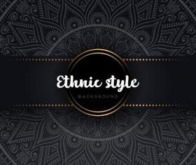 Black decor ethnic pattern background vector 02